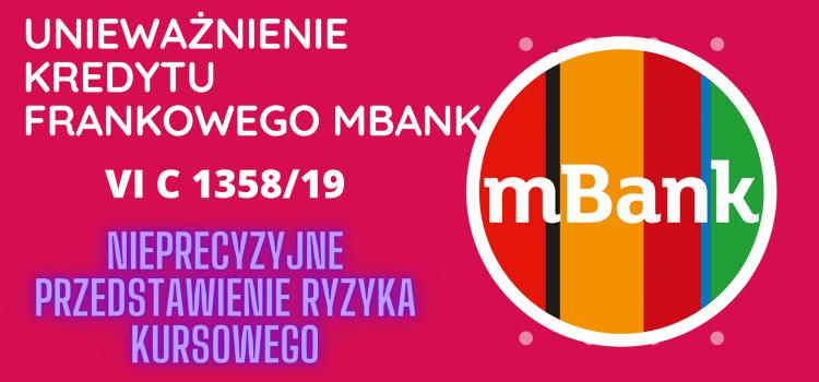 """Kolejne unieważnienie umowy frankowej mBank naszego Klienta – """"Bank w sposób niewystarczający przedstawił ryzyko kursowe"""""""