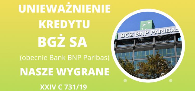 Unieważnienie umowy kredytu BGŻ SA (Bank BNP Paribas)