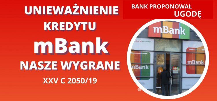 Unieważnienie kredytu mBank – bank proponuje UGODĘ a później PRZEGRYWA z nami w sądzie
