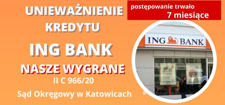 Unieważnienie kredytu ING BANK. Wygrywamy na 1 rozprawie