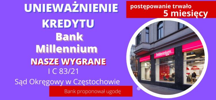 Ekspresowe unieważnienie kredytu Bank Millennium, Bank proponował ugodę. Wygrywamy w Częstochowie