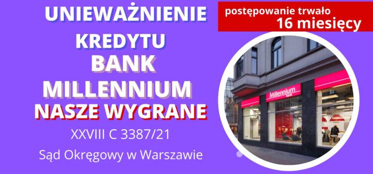 """Unieważnienie kredytu Bank Millennium. Wygrywamy w """"Wydziale Frankowym"""" w Warszawie"""
