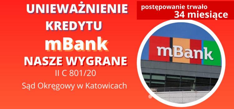 Kolejna umowa o kredyt frankowy mBank jest nieważna – Wygrywamy w Katowicach