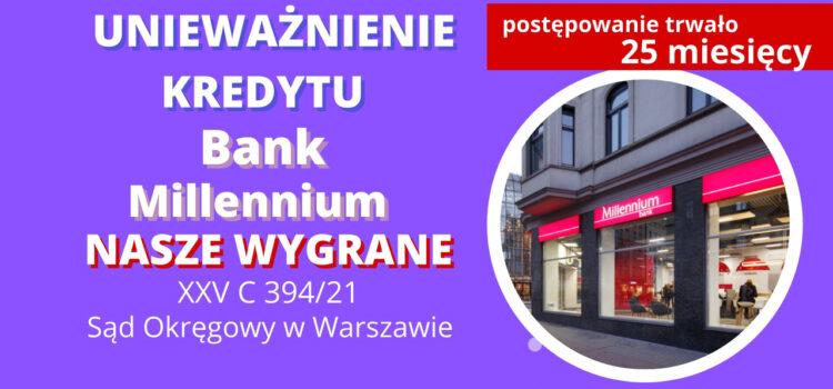 Unieważnienie kredyt frankowego Bank Millennium. 211 598,92 zł dla naszego Klienta. SO Warszawa