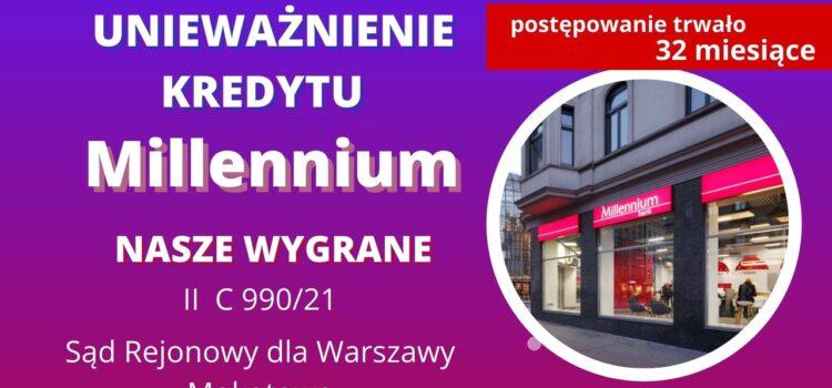Unieważnienie kredytu Bank Millennium. Wygrywamy w SR dla Warszawy Mokotowa